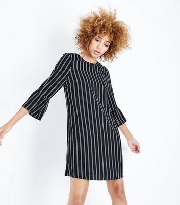 Black Stripe Bell Sleeve Tunic Dress