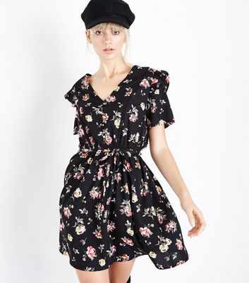 Black Floral Button Front Frill Trim Tea Dress