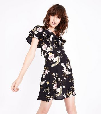 Black Floral Frill Trim Tie Back Tea Dress