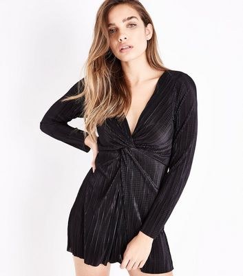 Black Knot Front Plisse Playsuit