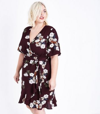 Curves Burgundy Floral Frill Trim Wrap Dress