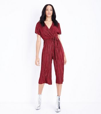 Dark Red Plisse Wrap Front Culotte Jumpsuit