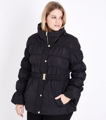 Curves Black Belted Puffer Jacket