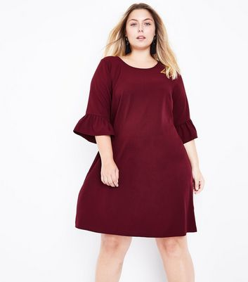 Curves Burgundy Bell Sleeve Tunic Dress
