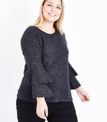 Curves Grey Textured Tier Sleeve Top