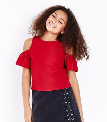 Teens Red Scuba Cold Shoulder Top