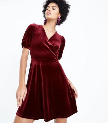 Burgundy Velvet Wrap Dress