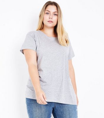 Curves Grey Oversized T-Shirt