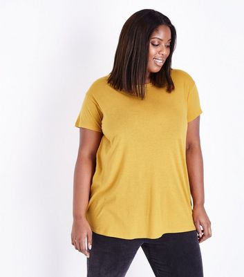 Curves - T-shirt oversize jaune moutarde