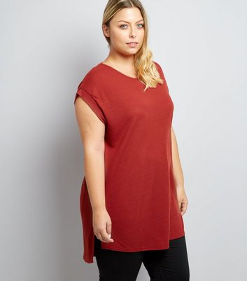 Curves Rust Longline Step Hem T-Shirt
