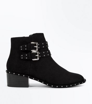 Teens Black Studded Suedette Block Boots