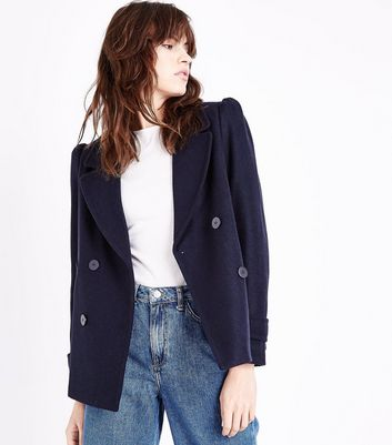 Navy Puff Sleeve Pea Coat