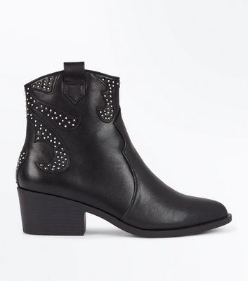 Black Studded Western Ankle Boots