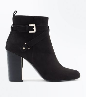 Black Suedette Metal Block Heel Ankle Boots