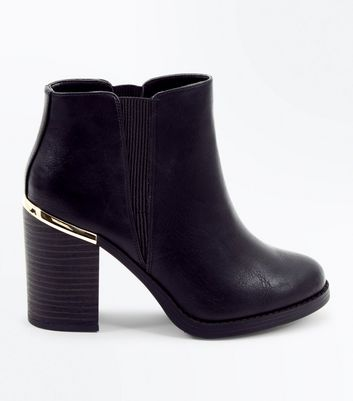 Black Metal Trim Block Heel Ankle Boots
