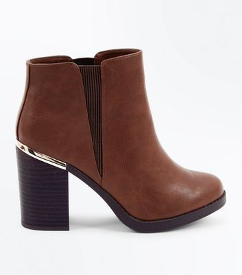 Tan Metal Trim Block Heel Ankle Boots