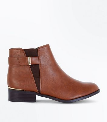 Tan Metal Trim Strap Side Ankle Boots