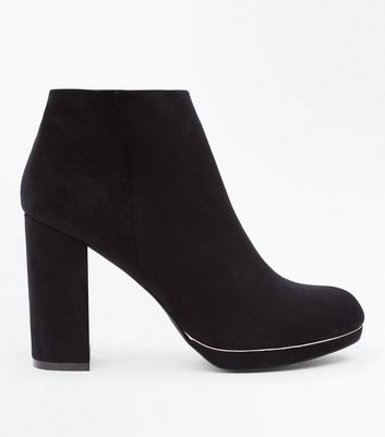 Black Comfort Suedette Metallic Trim Heeled Boots
