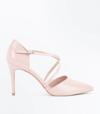 Nude Patent Cross Strap Pointed Court Shoes