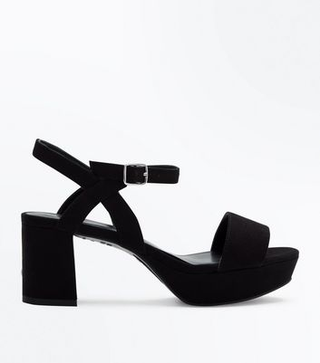 Girls Black Strappy Suedette Platform Heels