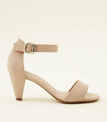Girls Nude Suedette Cone Heel Sandals