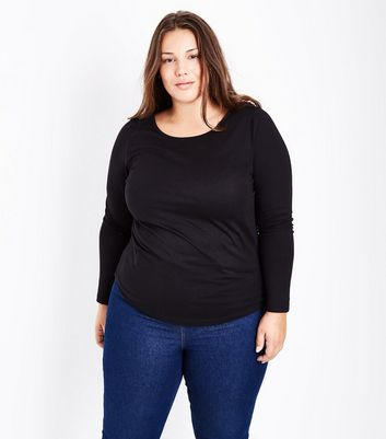 Curves Black Long Sleeve Crew Neck Top
