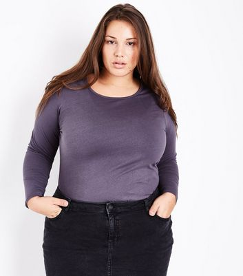 Curves Dark Grey Long Sleeve Crew Neck Top