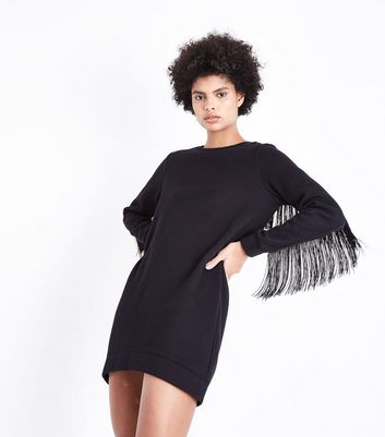 Black Fringe Sleeve Sweater Dress