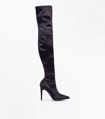 Black Satin Pointed Over the Knee Boots