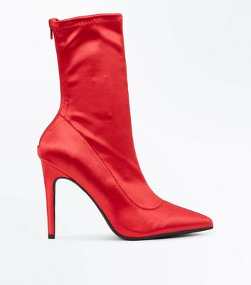 Red Satin Pointed Sock Boots