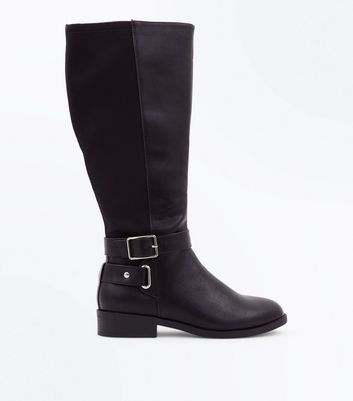 Wide Fit Black Buckle Side Knee High Boots