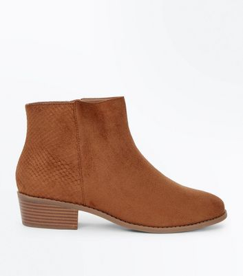 Wide Fit Tan Suedette Snake Texture Panel Boots