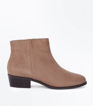 Wide Fit Light Brown Suedette Snake Texture Panel Boots