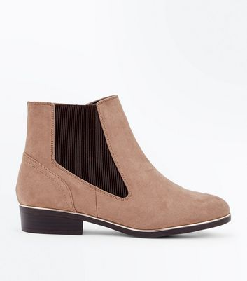 Wide Fit Light Brown Suedette Metal Trim Boots