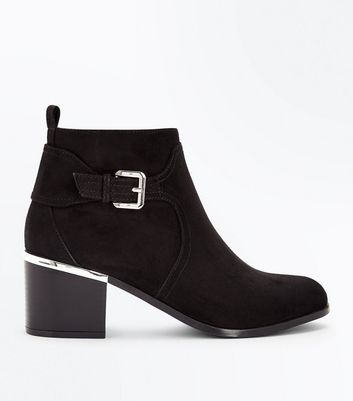 Wide Fit Black Comfort Suedette Buckle Side Boots