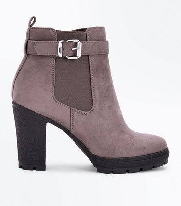 Wide Fit Grey Suedette Buckle Side Heeled Boots