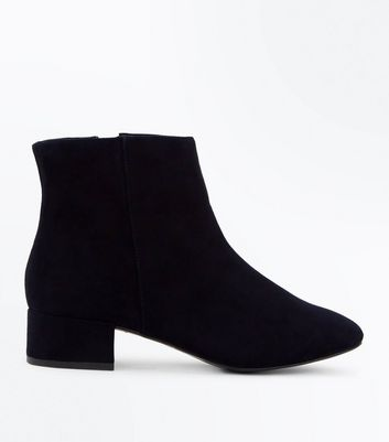 Wide Fit Black Suedette Low Block Heel Boots
