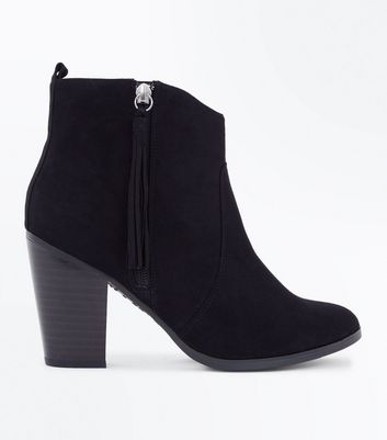 Wide Fit Black Suedette Tassel Zip Heeled Boots