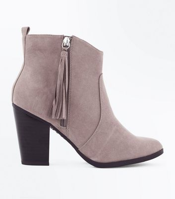 Wide Fit Light Brown Suedette Tassel Zip Heeled Boots