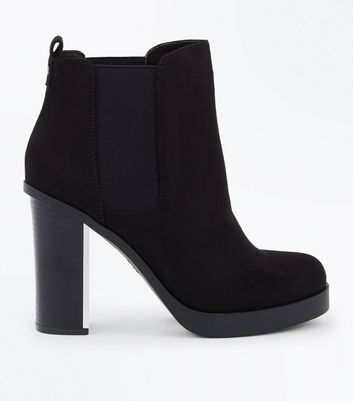 Wide Fit Black Suedette Metal Heel Chelsea Boots