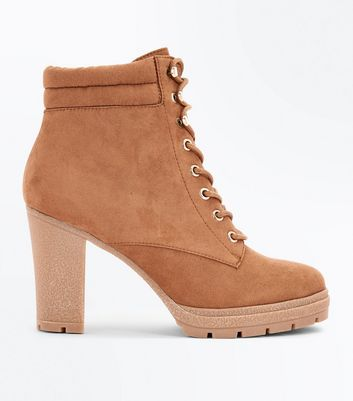 Wide Fit Tan Suedette Heeled Lace Up Boots