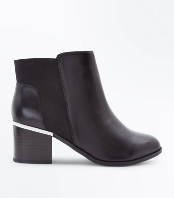 Wide Fit Black Leather Comfort Heeled Ankle Boots