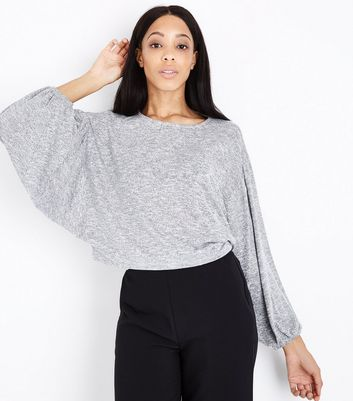 Pale Grey Fine Knit Batwing Sleeve Top