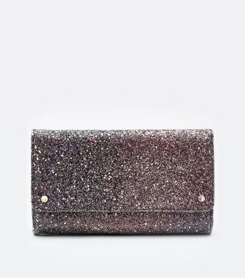 Black Ombre Glitter Curved Shoulder Bag