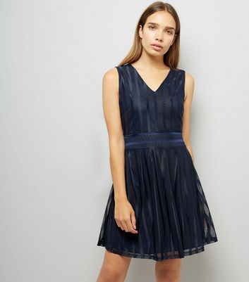 Mela Navy Stripe Shimmer Skater Dress