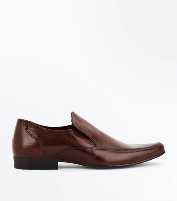 Brown Leather Formal Slip On Shoes