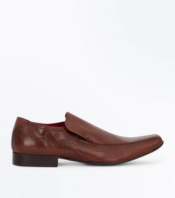 Tan Leather Slip On Shoes