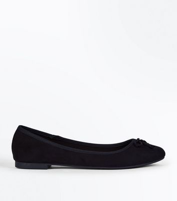 Wide Fit Black Suedette Rope Bow Ballet Pumps