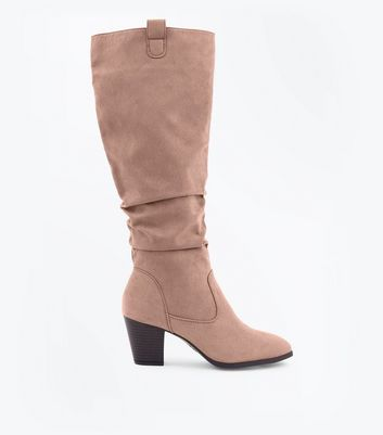 Light Brown Suedette Western Knee High Boots