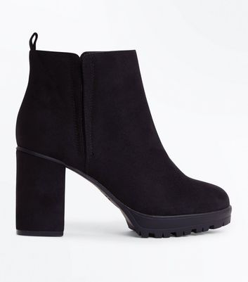 Wide Fit Black Suedette Cleated Sole Heeled Boots